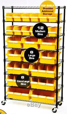 Groovy Seville Classics 24 Bin Rack Garage Storage Shelving Rolling Download Free Architecture Designs Viewormadebymaigaardcom