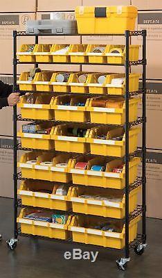 Seville Classics 24 Bin Rack Garage Storage Shelving Rolling Wheels Casters