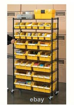 Seville Classics 24-Bin Rack with Rolling Wheels Casters Storage