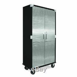 Seville Classics Steel Rolling Tool Storage Cabinet Stainless Steel Doors, Black
