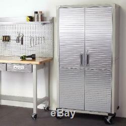 Seville Garage Metal Rolling Storage Cabinet Shelving Stainless Steel Doors Tall