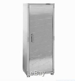 Seville Garage Metal Rolling Tall Storage Cabinet Shelving Stainless Steel Door