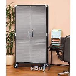 Seville Garage Metal Rolling Tall Storage Cabinet Shelving Stainless Steel Doors