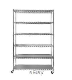 Seville Rolling Garage Commercial Retail Metal Storage Shelving Rack with Wheels