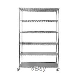 Shelving Unit Commercial Storage Organizer Rolling 6 Ajustable Shelf Rack 500 lb