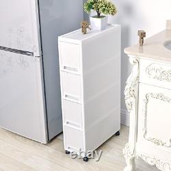 Shozafia Narrow Slim Rolling Storage Cart and Organizer, 7.1 inches Kitchen with