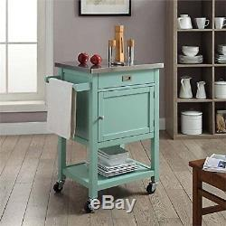 Small Kitchen Cart Rolling Island Light Green Stainless Steel Top Storage Drawer