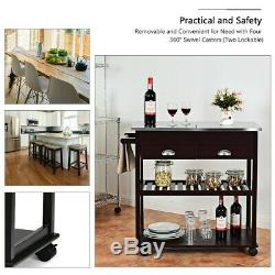 Stainless Steel Counter Top Brown Rolling Kitchen Island Trolley Cart Storage