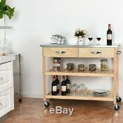 Stainless Steel Countertop Wood Rolling Kitchen Island Counter Space Storage