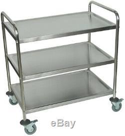 Stainless Steel Rolling Cart Restaurants Garage Storage Transporting 3-Shelf