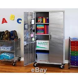 Stainless Steel Storage Cabinet Heavy Duty Metal Rolling Garage Tool Organizer