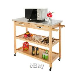 Stainless Steel Top Kitchen Trolley Cart Food Storage Hotel Rolling Utility