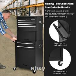 Steel 6-Drawer Rolling Tool 200 lbs Chest Storage Cabinet Toolbox Combo With Riser