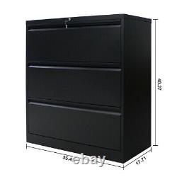 Steel Cabinet 3 drawer Home Office Metal Lateral File Storage Cabinet with Lock