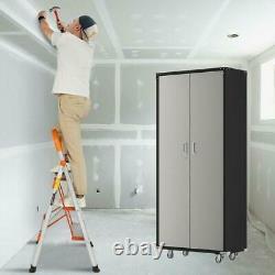 Steel Locking Garage Cabinet, Rolling Tool Storage Cabinet 46W x 24D x 72H