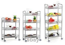 Steel Rolling Kitchen Utility Storage Cart Wheels Trolley with Wire Mesh Baskets