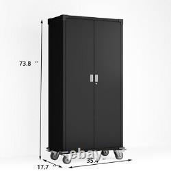 Steel Rolling Storage Cabinet Cupboard with&Lock 4 Adjustable Shelves Garage Tool