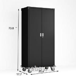 Steel Rolling Storage Cabinet with Adjustable Shelves and Lock for Garage Office