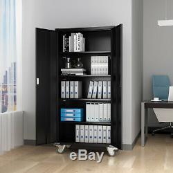 Steel Storage Cabinet 5-Shelf Mobile Metal Cupboard 4 Adjustable Shelf Lockable