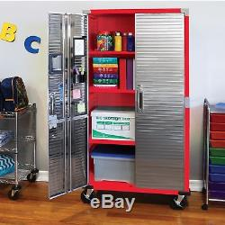 Storage Cabinet Stainless Steel Heavy Duty Metal Rolling Garage Tool Shed Red A+