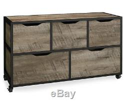 Stratford Rustic Rolling 5-Bin Storage Cubby Steel Frame Caster Wheels Wooden