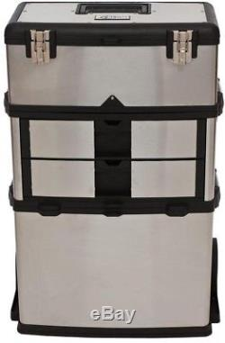 Suitcase Tool Box Storage 21.5 in. W 3-Compartments Stainless Steel Rolling