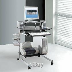 Techni Mobili Rolling Compact Computer Cart Desk With Storage, Graphite RTA-20