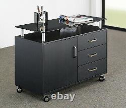Techni Mobili Rolling Storage Cabinet With Frosted Glass Top. Color Graphite