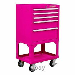 The Original Pink Box 26 18G Steel Rolling Cabinet With Bulk Storage Pink