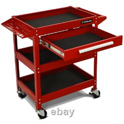 Three Tray Rolling Tool Cart Mechanic Cabinet Storage Organizer With 1Small Drawer