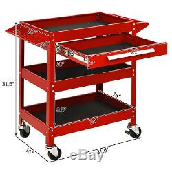 Three Tray Rolling Tool Cart Mechanic Cabinet Storage ToolBox Organizer withDrawer