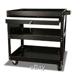 Three Trays Rolling Tool Cart with Wheels & Drawer Tool Storage Box Organizer