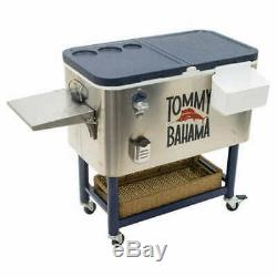 Tommy Bahama 100 QT Stainless Steel Rolling Cooler Lower Storage Area