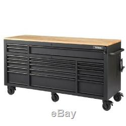 Tool Bench Work Chest Cabinet Adjustable Wood Top 72 in Rolling Garage Storage