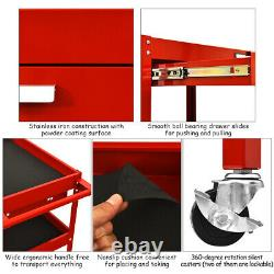 Tool Cart 3-Tray Rolling Tool Organizer With Drawer Industrial Storage Dollies