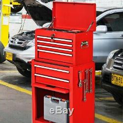 Tool Cart on Wheels 2-Pc Rolling Chest Storage Garage Organizer Toolbox Cabinet