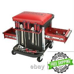 Tool Chest Seat Stool Storage Rolling Organizer Glider Garage Casters Portable