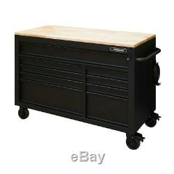 Tool Chest Work Bench Cabinet Adjustable Wood Top 52 in Rolling Garage Storage