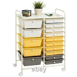 Topbuy 15-Drawer Rolling Trolley Mobile Storage Cart Organizer