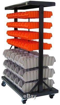 Trinity Tool Storage Holder Organizer Mobile Bin Rack Wheels Rolling Steel Black