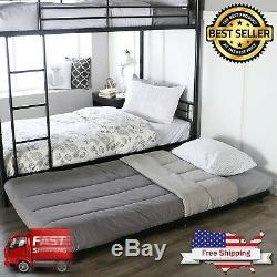 Twin Roll Out Trundle Bed Frame Storage Black Metal Bunk Beds for Home Bedroom