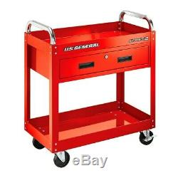 Two Tray Rolling Tool Cart Mechanic Cabinet Storage Toolbox Organizer with Drawer