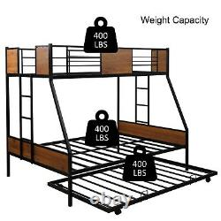 US Bunk Beds Kids Black Metal Twin Bed Roll-Out Trundle Frame Storage Save Space