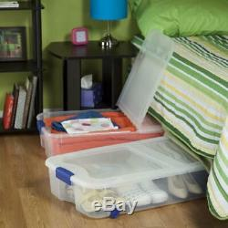 Under Bed Storage Box Containers Tubs Stackable Rolling 66 Qt Organizer 4-Piece