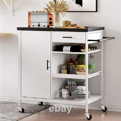 Used Kitchen Island Serving Cart Rolling Utility Trolley +Drawer Storage Cabinet