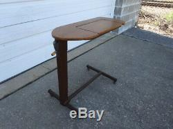 Vintage 1950s Adjustable Height Flip Top Storage Rolling Workstation Desk Table