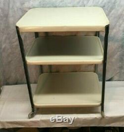Vintage Cosco Three tier Rolling Cart Kitchen Shelf storage Plug in cord