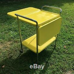 Vintage Cosco Three tier Rolling Cart Kitchen Shelf storage Sun Yellow