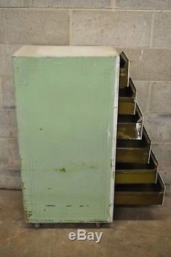 Vintage Industrial Rolling Steel Metal Deep File Cabinet Banker Letter Storage A