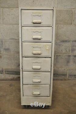 Vintage Industrial Rolling Steel Metal Deep File Cabinet Banker Letter Storage B